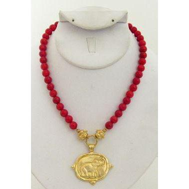 Susan Shaw Handcast Gold Elephant on Red Coral Necklace