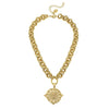 Susan Shaw Bee Pendant on Textured Double Linked Chain Necklace-Susan Shaw Jewelry-Blue Hand Home