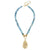 Susan Shaw Gold Oyster Shell on Genuine Fire Agate Necklace