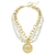 Susan Shaw Gold Bee Pendant on Genuine Multi Strand White Turquoise Necklace
