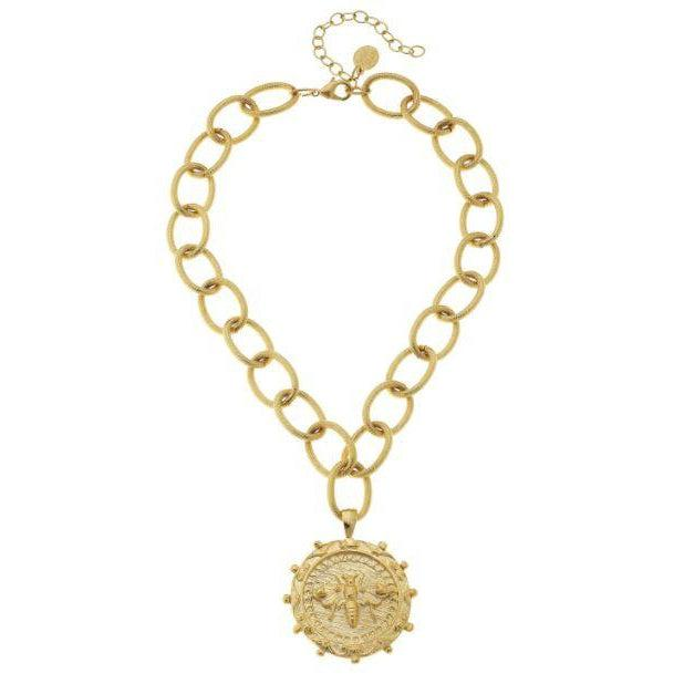 Susan Shaw Queen Bee Pendant on Textured Loop Chain