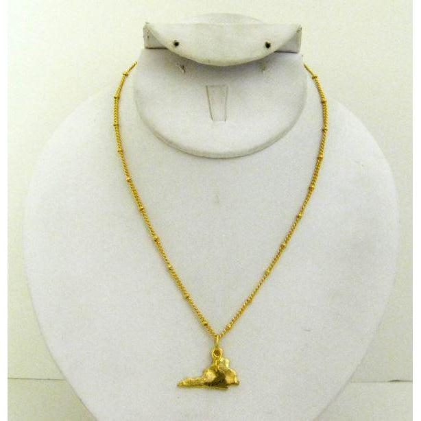 "Susan Shaw Handcast Gold ""Virginia"" State Necklace"