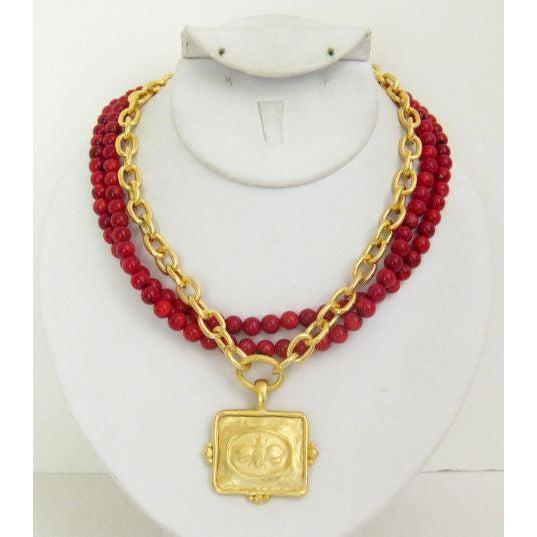 Susan Shaw Handcast Gold Bee on Red Coral Necklace-Susan Shaw Jewelry-Blue Hand Home