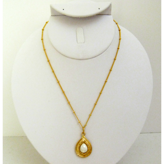 Handcast Gold Teardrop w/ Genuine Mother of Pearl Stone Necklace