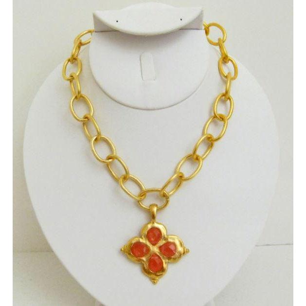 Susan Shaw Handcast Gold Clover with Genuine Cherry Quartz Stone Necklace-Susan Shaw Jewelry-Blue Hand Home