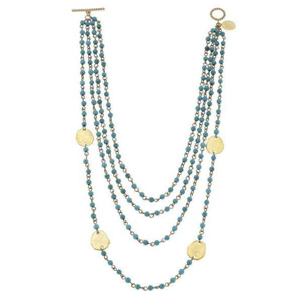 Susan Shaw Multi Strand Linked Turquoise with Gold Circles 16in Necklace-Susan Shaw Jewelry-Blue Hand Home