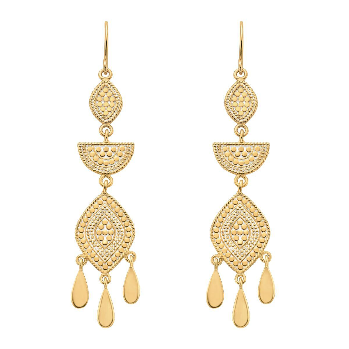 Anna Beck Multi Shape Chandelier Earrings - Gold-Anna Beck Jewelry-Blue Hand Home
