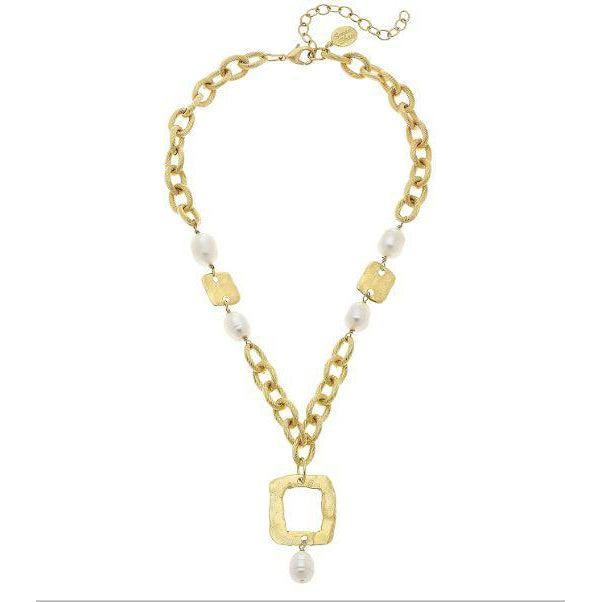 Susan Shaw Handcast Gold Square & Genuine Freshwater Pearl Chain Necklace
