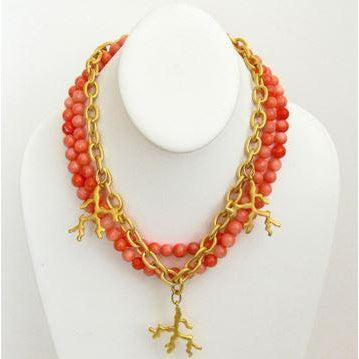 Susan Shaw Handcast Gold Coral with Pink Coral Necklace