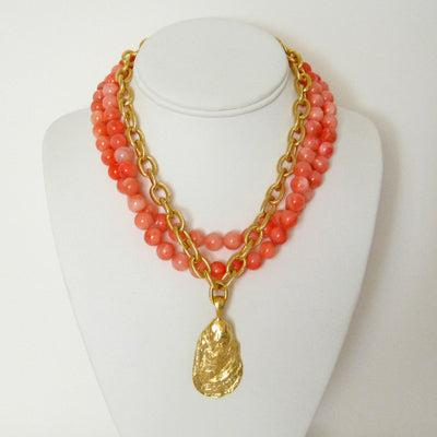 Susan Shaw Handcast Gold Oyster Shell and Pink Coral Necklace