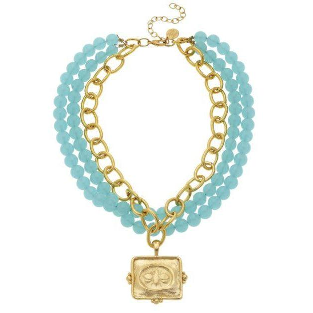 Susan Shaw Gold Squared Bee on Genuine Multi Strand Aqua Quartz Necklace-Susan Shaw Jewelry-Blue Hand Home