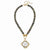 Susan Shaw Gold/Silver Italian Coin on Genuine Labradorite Necklace