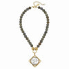 Susan Shaw Gold/Silver Italian Coin on Genuine Labradorite Necklace-Susan Shaw Jewelry-Blue Hand Home