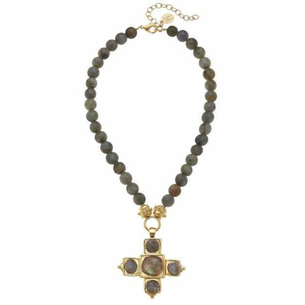 Susan Shaw Gold Cross w/ Labradorite Accents on Genuine Labradorite Necklace-Susan Shaw Jewelry-Blue Hand Home