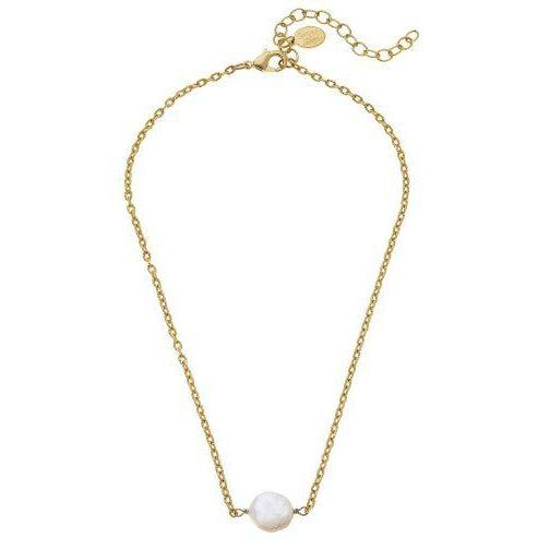 Susan Shaw Genuine Coin Pearl on Gold Chain Necklace-Susan Shaw Jewelry-Blue Hand Home