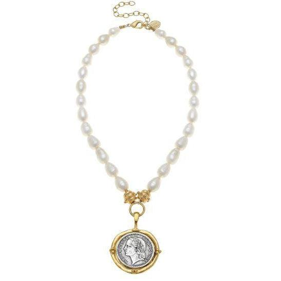 Susan Shaw Handcast Gold & Silver Coin on Genuine Freshwater Pearl Necklace-Susan Shaw Jewelry-Blue Hand Home