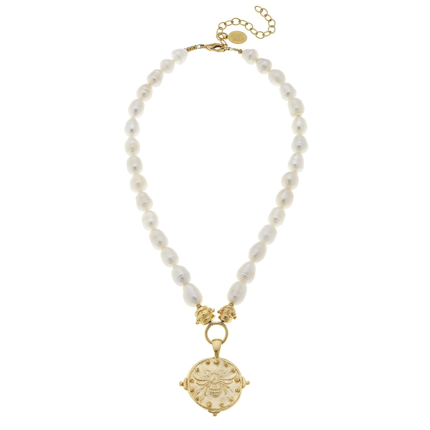 Susan Shaw Bee Pendant on Genuine Freshwater Pearl Necklace - Gold