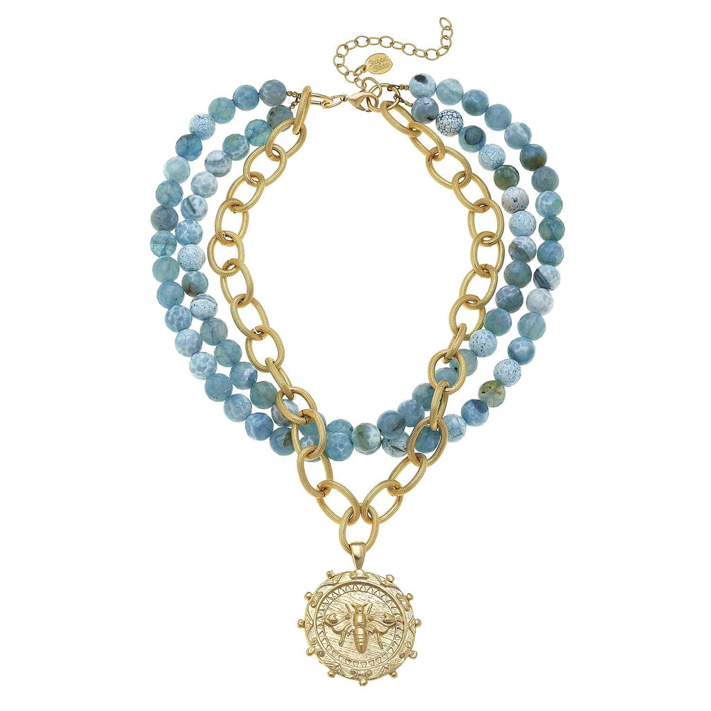 Susan Shaw Multi-Strand Fire Agate with Hand-cast Gold Bee Necklace
