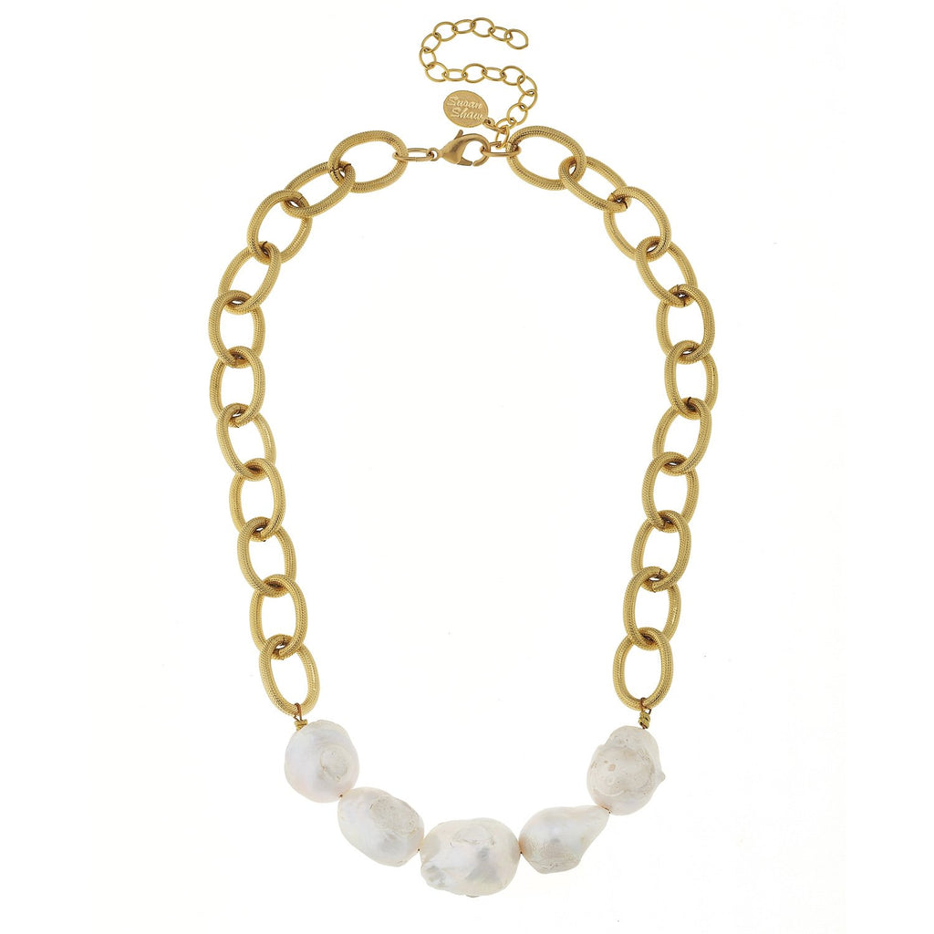 Susan Shaw Gold Textured Loop Chain w/ Genuine Freshwater Baroque Pearls-Susan Shaw Jewelry-Blue Hand Home