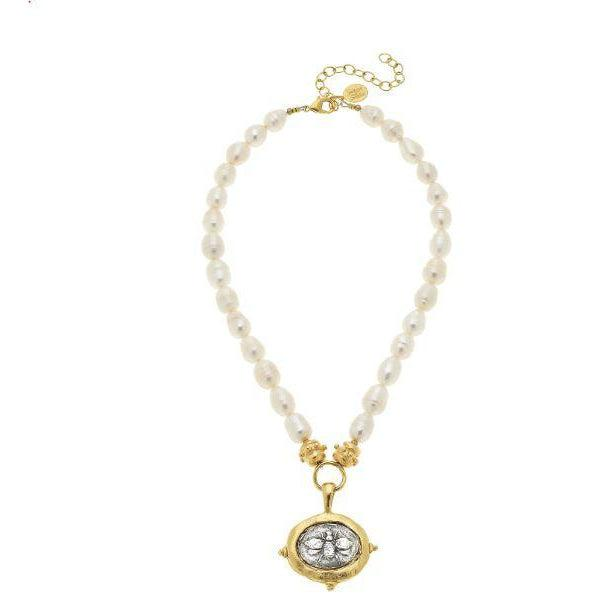 Susan Shaw Gold/Silver Bee on Genuine Freshwater Pearl Necklace-Susan Shaw Jewelry-Blue Hand Home