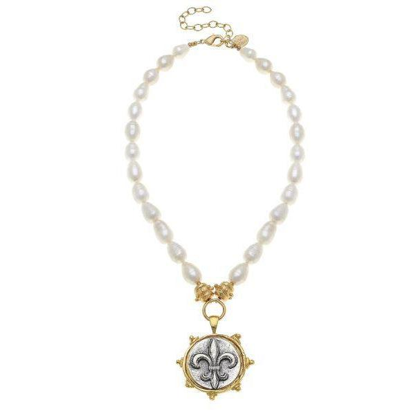 Susan Shaw Handcast Gold & Silver Fleur De Lis on Genuine Freshwater Pearl Necklace