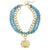 Susan Shaw Gold Squared Bee Intaglio on Multi Strand Genuine Turquoise Necklace