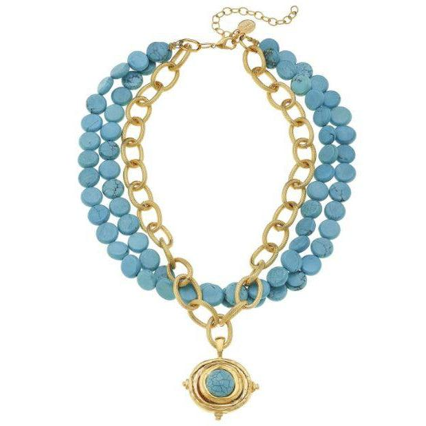 Susan Shaw Gold & Turquoise Cab on Genuine Multi Strand Turquoise Necklace