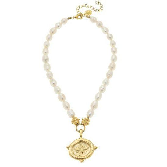 Susan Shaw Gold Bee Intaglio on Genuine Freshwater Pearl Necklace
