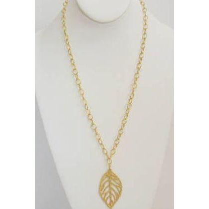"Susan Shaw 30"" Handcast Gold Filigree Leaf Necklace-Susan Shaw Jewelry-Blue Hand Home"