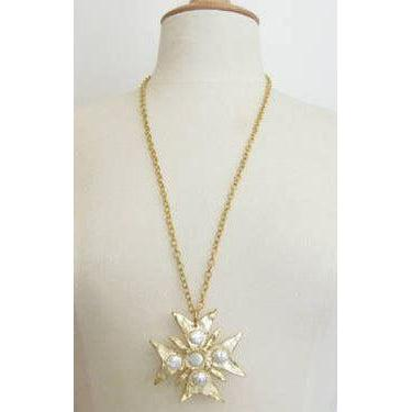 Susan Shaw Handcast Gold Maltese Cross with White Freshwater Pearl Necklace-Susan Shaw Jewelry-Blue Hand Home