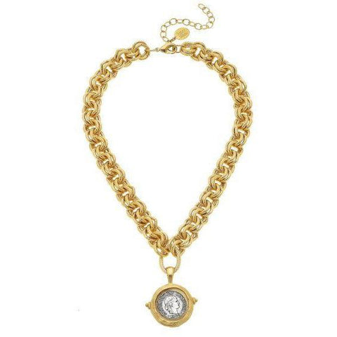 Susan Shaw Gold/Silver Coin on Double Linked Chain Necklace