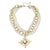 Susan Shaw 3-Strand Pearl with Handcast Gold Multi-Fleur de Lis Necklace