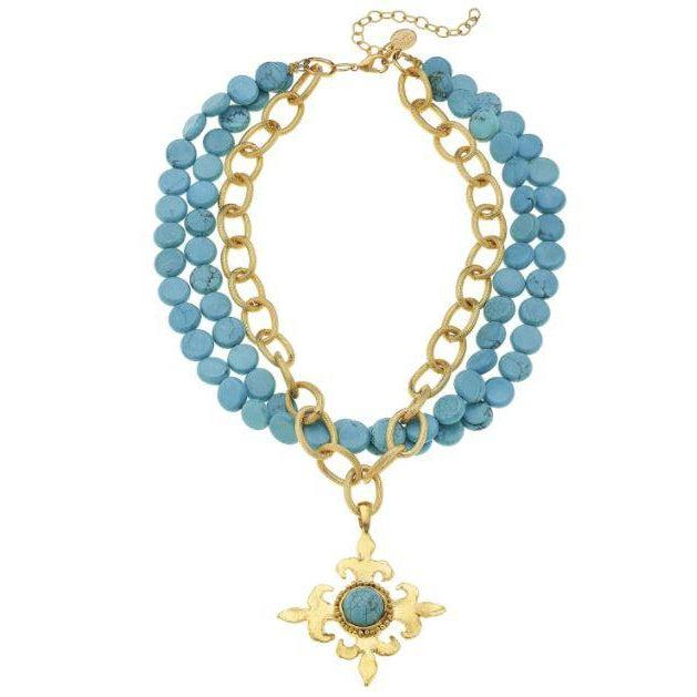 Susan Shaw Gold Fleur De Lis Cross on Multi Strand Genuine Turquoise Necklace-Susan Shaw Jewelry-Blue Hand Home