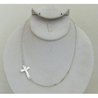 "Susan Shaw Handcast Silver ""Sideways Cross"" Necklace-Susan Shaw Jewelry-Blue Hand Home"