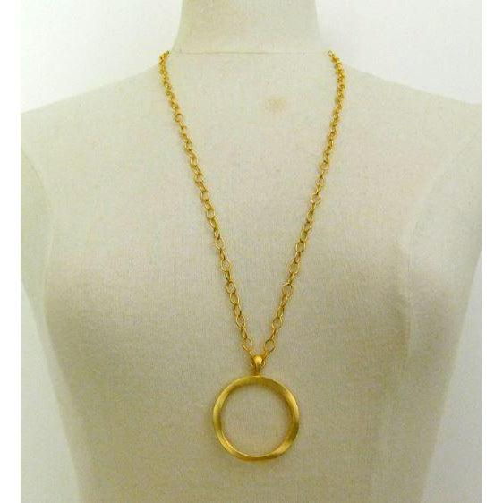 "Susan Shaw 30"" Handcast Gold Ring Necklace"