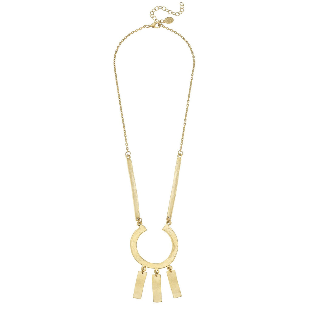 Susan Shaw Handcast Gold Geometric Bar Chain Necklace-Susan Shaw Jewelry-Blue Hand Home