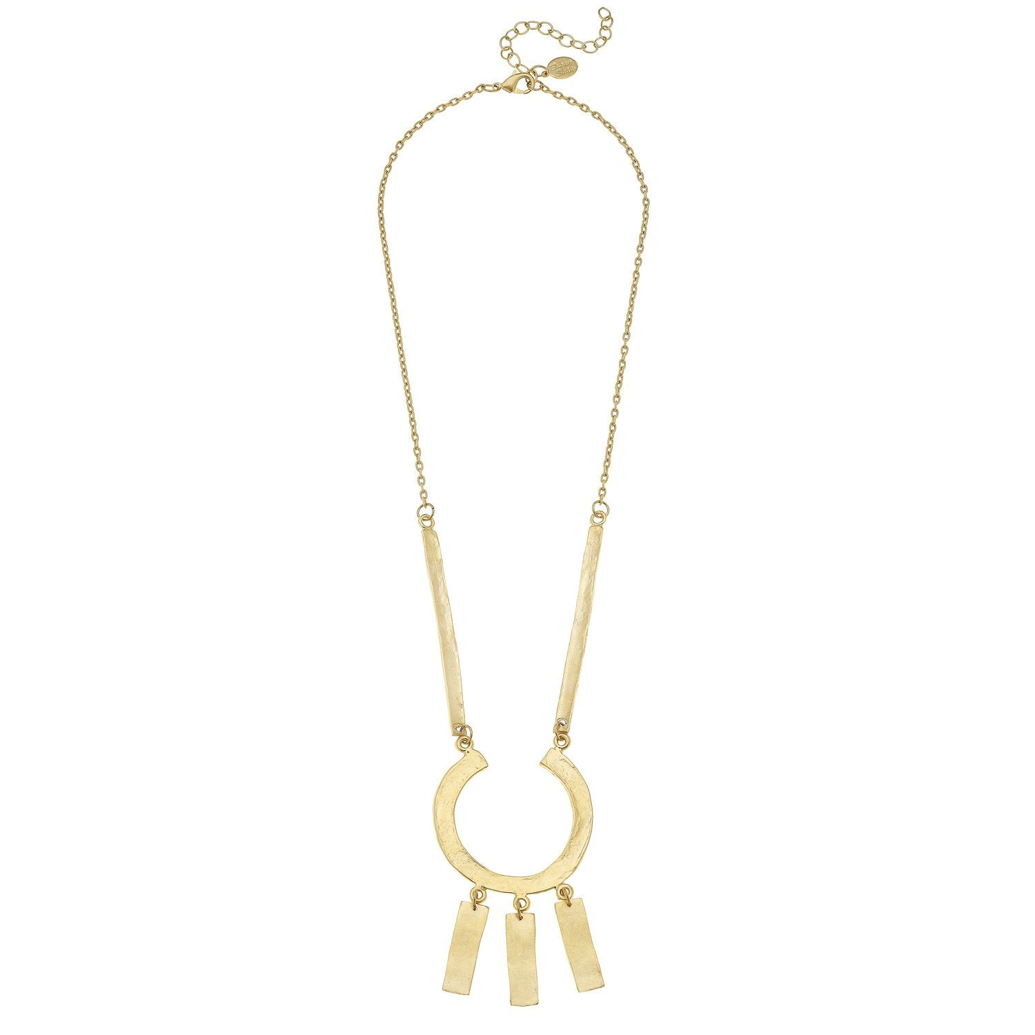 Susan Shaw Handcast Gold Geometric Bar Chain Necklace