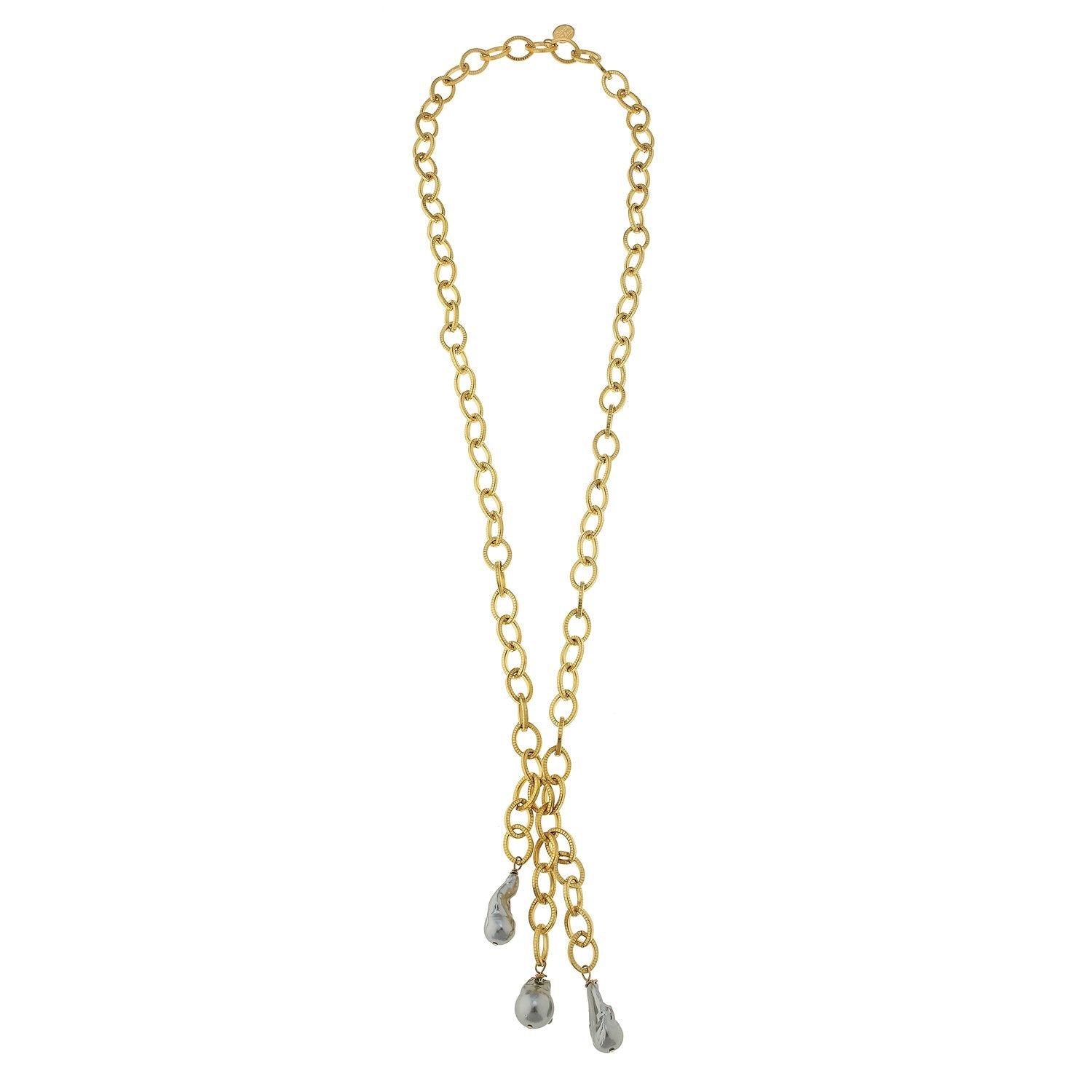 Susan Shaw Gold Textured Loop Chain w/ Genuine Grey Freshwater Baroque Pearl Drops