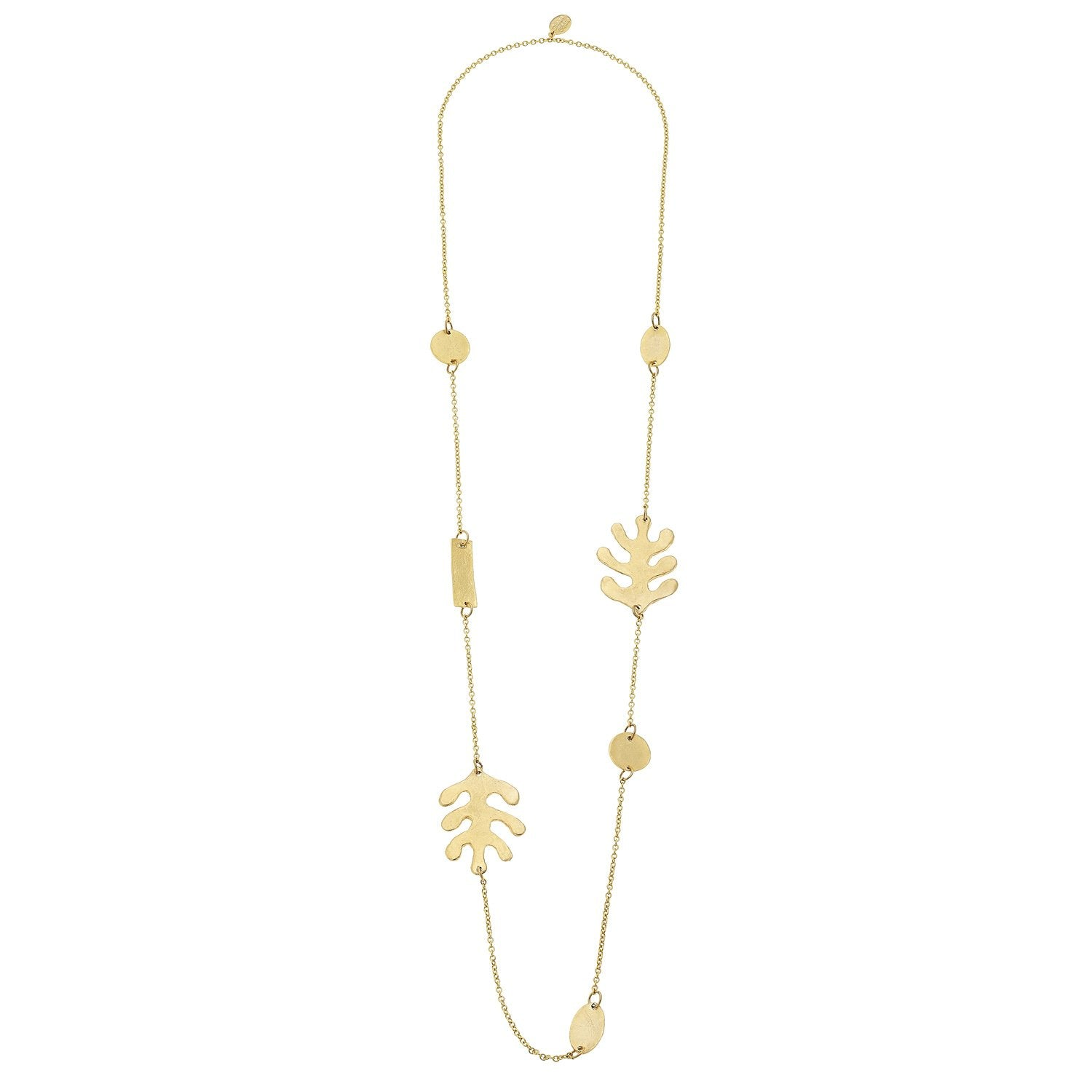Susan Shaw Handcast 24Kt Gold Plated Matisse Inspired Leaf Necklace