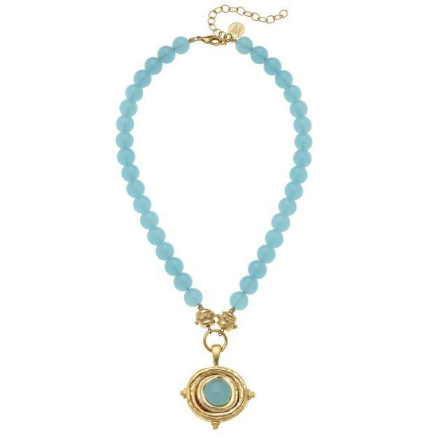 Susan Shaw Gold Cab Pendant w/ Aqua Quartz on Genuine Aqua Quartz Necklace-Susan Shaw Jewelry-Blue Hand Home