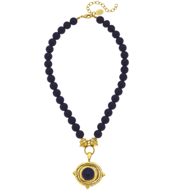 Susan Shaw Handcast Gold Oval and Black Onyx Necklace-Susan Shaw Jewelry-Blue Hand Home