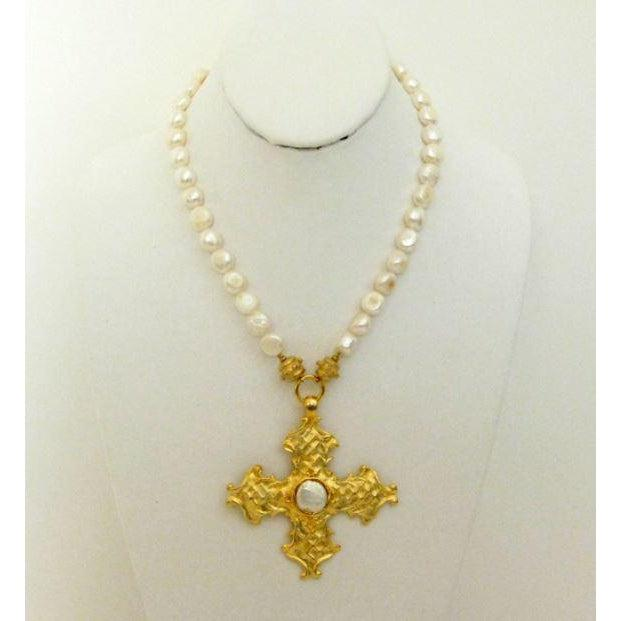 Susan Shaw Handcast Gold Cross on Genuine Freshwater Pearl Strand Necklace-Susan Shaw Jewelry-Blue Hand Home