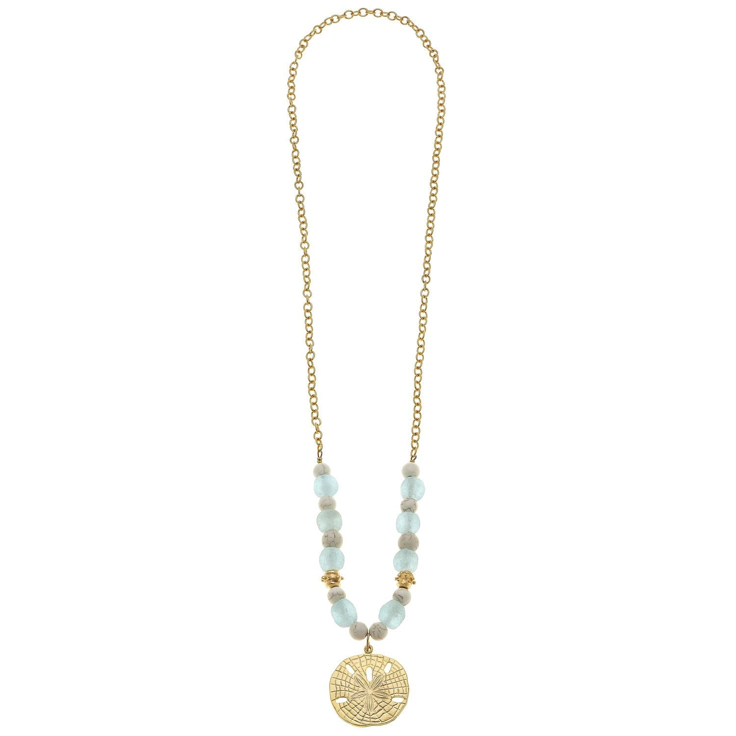 Susan Shaw Gold Sand Dollar on Textured Chain with Recycled Glass & White Turquoise Necklace