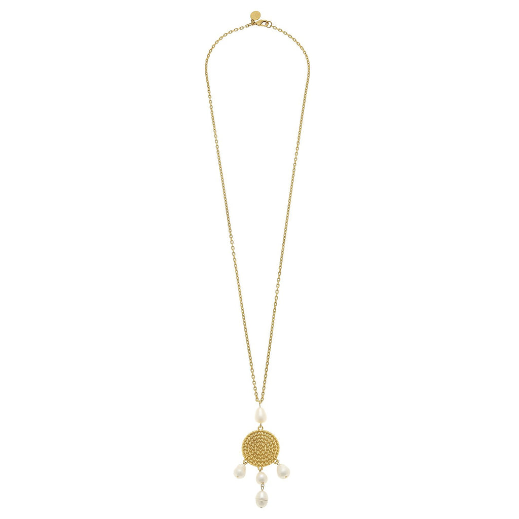 Susan Shaw Long Gold Chain w/ Gold Disk & Genuine Freshwater Pearl Necklace-Susan Shaw Jewelry-Blue Hand Home