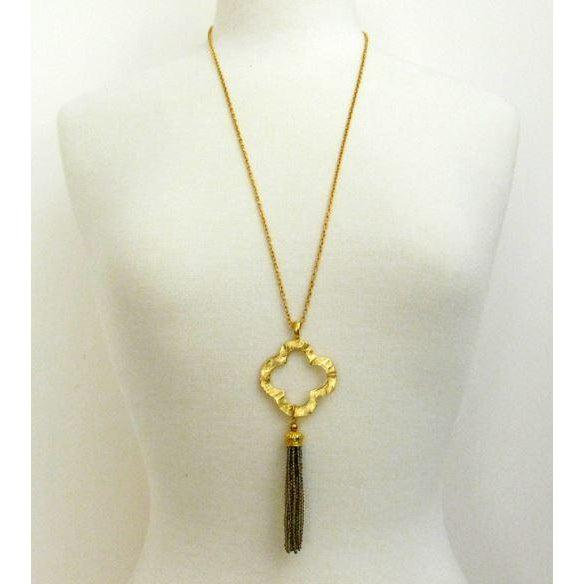 "Susan Shaw 30"" Handcast Gold Clover with Brown Crystal Tassel Necklace-Susan Shaw Jewelry-Blue Hand Home"