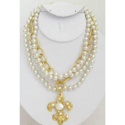 Susan Shaw Handcast Gold Fleur de Lis with Freshwater and Coin Pearls Necklace-Susan Shaw Jewelry-Blue Hand Home