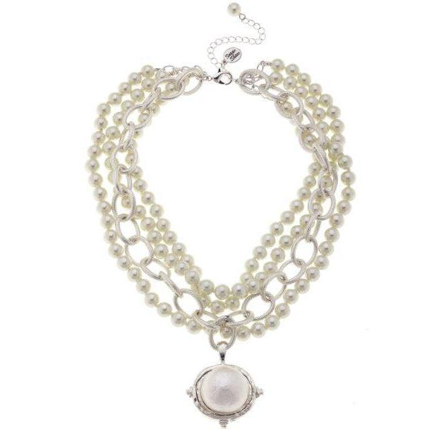 Susan Shaw Multi Strand Ivory Glass Pearls with Cotton Pearl Cab Pendant