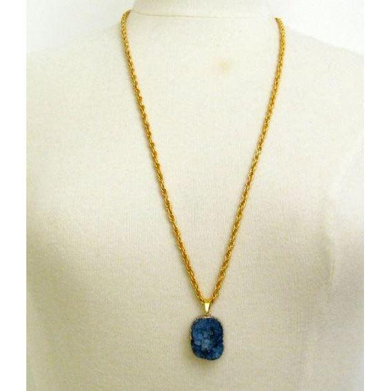 "Susan Shaw 30"" Lapis Blue Druzy Quartz on Gold Chain Necklace"