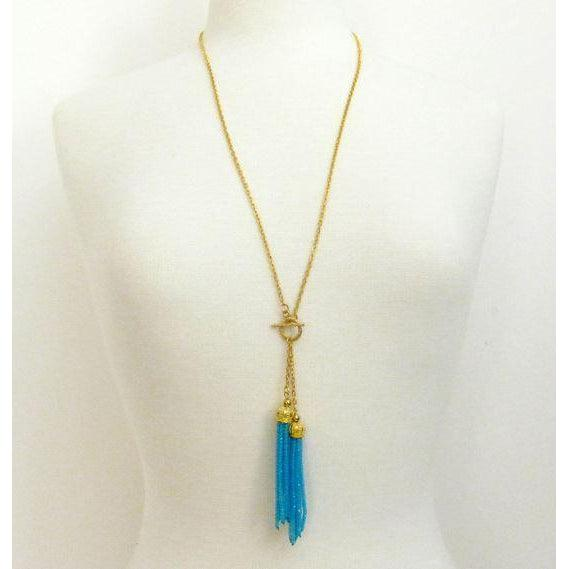 "Susan Shaw 30"" Handcast Gold Toggle with Double Turquoise Crystal Tassel Necklace"