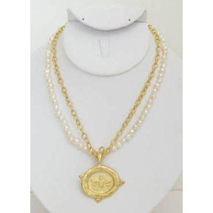 "Susan Shaw Handcast Gold Intaglio ""Bee"" with Freshwater Pearl Necklace"